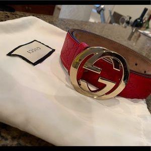 Red Gucci belt
